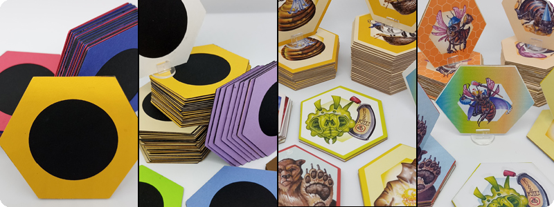Ramstar games, honey bomb, prototype development photos, game developer, game designer, game illustration, tabletop game, board game