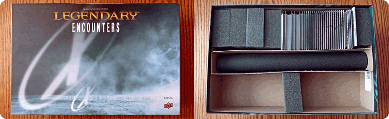Upper Deck Legendary Encounters: X-files game box showing just how much air is inside the box when properly organized.