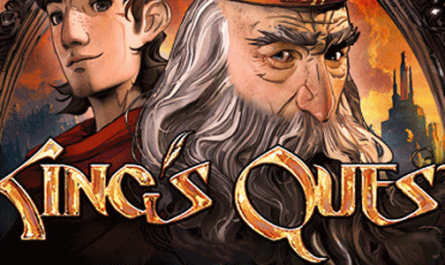 Kings Quest image showing an old and young version of King Graham